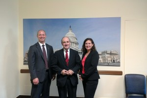 From left to right: Joshua Swift, PhD, Senator James Risch (Republican from Idaho), and Shannon Lynch, PhD.