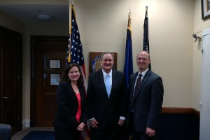 From left to right: Shannon Lynch, PhD, Senator Mike Crapo (Republican from Idaho), and Joshua Swift, PhD.