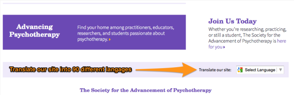 translate the Society for the Advancement of Psychotherapy
